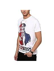 SlingShot Men's Round Neck Cotton T-Shirt (White) - B00NM27HDG