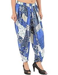 Elegant And Beautiful Blue Floral Motif Print Rayon Dhoti Pant, Patiala Dhoti Salwar For Women, Girls From Khazana...