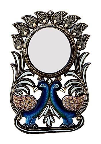 Divraya Wood Peacock Wall Mirror (30.48 Cm X 4 Cm X 45.72 Cm, DA123)