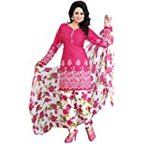 Best Offer On Printed Unstiched Dress Material Party & Regular Wear Salwar Suit With Dupatta Pink Color (Lovely...