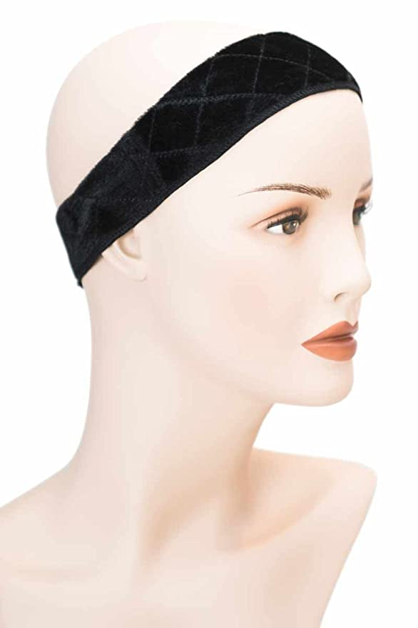 Grip Band - Holds Head Scarves, Wigs, Hats and Headwear in Place - Scarf Grip, Wig Gripper - Black G