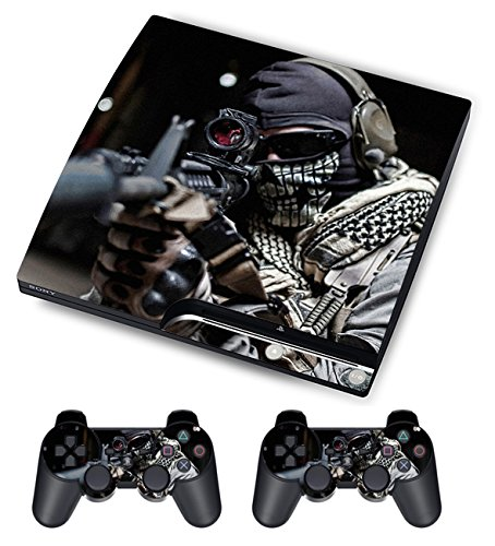 Designer Skin For Sony PS3 Slim Console System + Decals For Playstation 3 Dualshock Controller Call Of Duty Ghost
