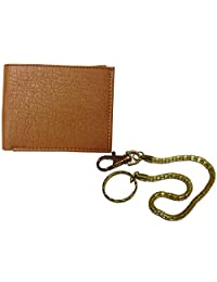 Apki Needs Fashionable & Designer Mens Tan Wallet And Golden Chain Keychain Combo