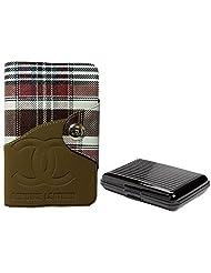 Apki Needs Long Brown Mens Wallet & Black Colored Credit Card Holder Combo