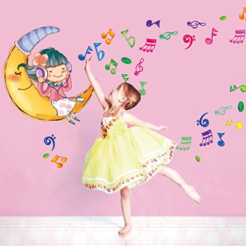 55*155cm Sweet dreams wall sticker baby cartoon moon children's room bedroom wall stickers removable home decor stickers