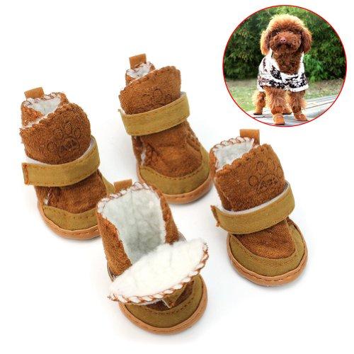 Hunde Winter Stiefel Schneestiefel Pfotenschutz Warm Schneeschuhe Set Haustier