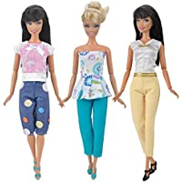 E Ting 3 Sets Quality Doll Clothes Handmade Blouse Pants Outfit Casual Wear For Barbie Dolls E