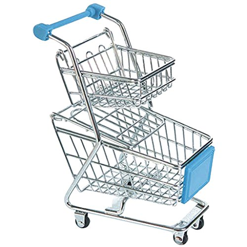 Imported Mini Double Tier Shopping Cart Trolley Toy Sky Blue