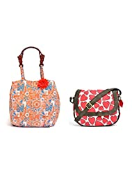 Pick Pocket Combo Of Orange And Blue Canvas Jholi Bag With Wood Look Handel With White Canvas Sling Bag With Red...