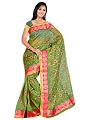 Sehgall Saree Indian Bollywood Ethnic Professional Green Gadwal Mango Border Embroidery Saree