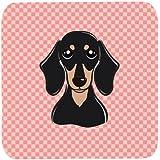 "Caroline's Treasures BB1215FC Checkerboard Pink Smooth Black And Tan Dachshund Foam Coaster (Set Of 4), 3.5"" H..."