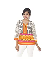 Parinita Women White Cotton Printed Short Top