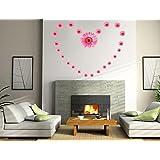 Generic DIY Pink Flowers Wall Stickers Vinyl Decals Art Home Decor