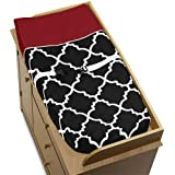 Red, Black And White Trellis Print Lattice Baby Changing Pad Cover By Sweet Jojo Designs