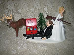 redneck deer fishing hunting wedding cake toppers humorous wedding deer 19131