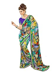 FadAttire Georgette Chiffon Printed Saree With Blouse FAPKS29