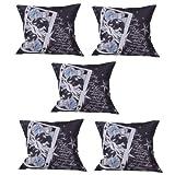 MeSleep Digitally Printed 5 Piece Cushion Cover Set - Black And White