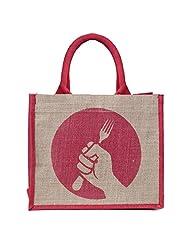 Honey & Bee Organic Jute Lunch-Bag,REVOLUTION Design,Red-Landscape