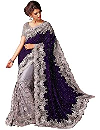 Clickedia Women's Beautiful Net Navy Blue & White Saree With Blouse PC