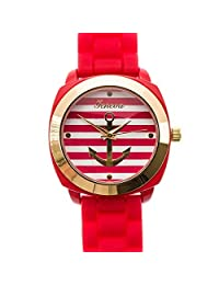 Geneva Anchor Stripe Face Gold Tone Bezel Silicone Band Wrist Watch (Red)