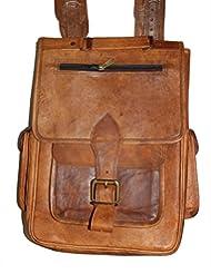 """HLC-(Handmade Leather Craft) 13"""" Real Leather Rucksack Handmade Messenger Vintage Bag Backpack Satchel Stylish..."""
