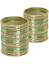 Touch Of The Tribe Bangle Set- Light Green Lacquer Wedding Bangles For Women