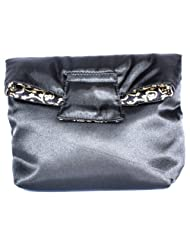 Satin & Cotton Cosmetic Bag With Magnet Flap Closure, Reversible, Small, Black & Gold Vine