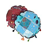 Ethnic Patch Work Cotton Floral Turquoise D-18 Cushion Cover 08764