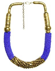 DollsofIndia Dark Mauve Glass With Brass Bead Necklace - Beads - Purple
