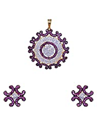 Gehna American Diamond & Pink Tourmaline Studded Pendant & Earring Set