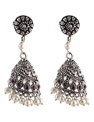 Ganapathy Gems Studded Spiral Shape White Metal With Red Stones And Pearl Drops Jhumka