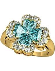 Suvam Swarovski Crystal Floral Design Blue Stone Gold Plated 92.5 Sterling Silver Ring - B01JSBAUXS