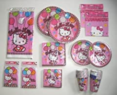 Hello Kitty Party Supplies Pack, Deluxe Birthday Set for 16 Guests