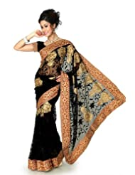 Designersareez Women Net Embroidered Black Saree With Unstitched Blouse(1292)