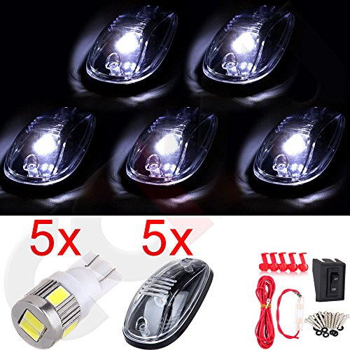 CCIYU For Dodge Ram QTY(5) Cab Roof Top WHITE 6 LED Lights Clearance Lens Marker Running Lamps with Base Housing +wiring pack truck RV 4X4