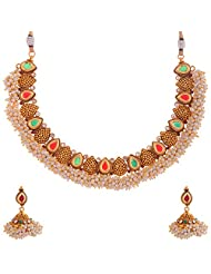Sapna Jewellery Copper Based With Gold Plated And Semi Precious Stones Necklace Set For Women's