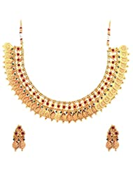 The Jewelbox Lakshmi Coin Gold Temple Antique Red Green Necklace Earring Set - B00XL8KA0I