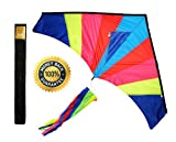 Kites for Kids by Get Childish - Best Large Delta Kite with Tail - Perfect for Relaxing & Having Tons of Fun At the Beach - Give It a Try! We Are Confident That You Will Love It!