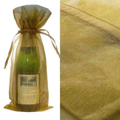 10x Gold Bottle & Wine Organza Favor Gift Bags