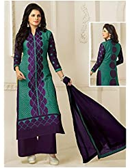 NEW PHASE Blue Cambric Cotton Top & Green Cambric Cotton Bottom Embroidered & Printed Unstiched Salwar Suit With...