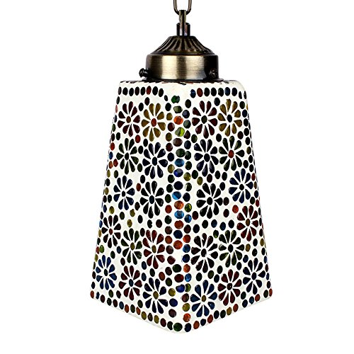 EarthenMetal Handcrafted Multicoloured Flower Decorated Trapezium Shaped Glass Hanging Light