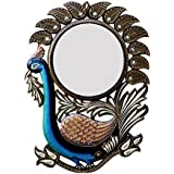 Divraya Wood Peacock Wall Mirror (45.72 Cm X 4 Cm X 60.96 Cm, DA114)