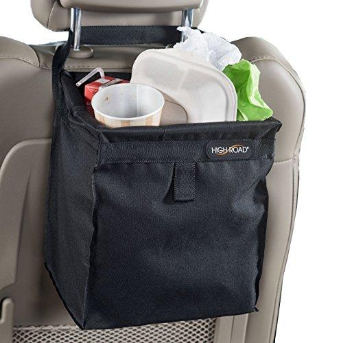 High Road TrashStash Leakproof Hanging Car Trash Bag with Spring Frame Closure – Black