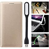 Gulwan Cover For Motorola Moto M Leather Flip Cover With LED Light (Gold)