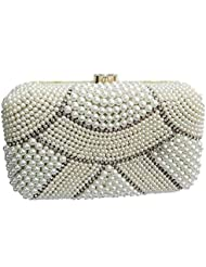 The Indian Handicraft Store Women's Clutch Small & Large Beads White Armour