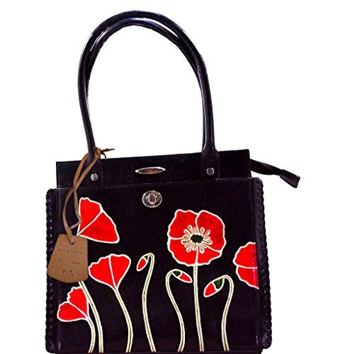 Flower Printed Genuine Leather C11340-1B