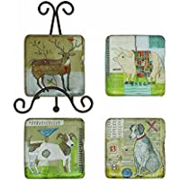 Creative Co-Op Resin Coaster Set With Animal Images In Metal Easel, Multicolor