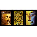 TiedRibbons Buddha Framed Paintings(without Glass) Large Set Of 3 (13.6 Inch X 10.2 Inch)
