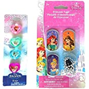 Disney Princess Dog Tag Necklace Set Of 3 And Heart Shaped Frozen Rings Set Of 4