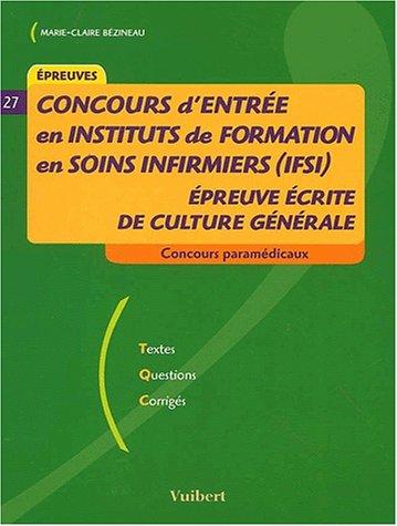 ... de formation en soins infirmiers (IFSI) : Epreuve écrite de culture
